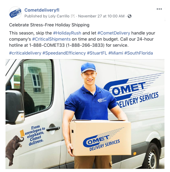 Comet Delivery on social media
